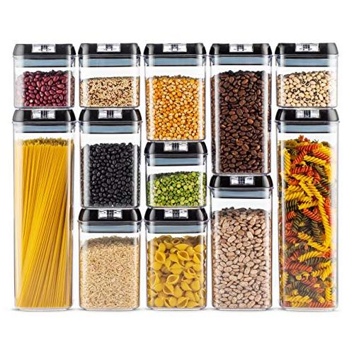 Airtight Food Container Set 12 + 18 Labels & Marker Strong Heavy Duty - Free Clear Plastic with Interchangeable