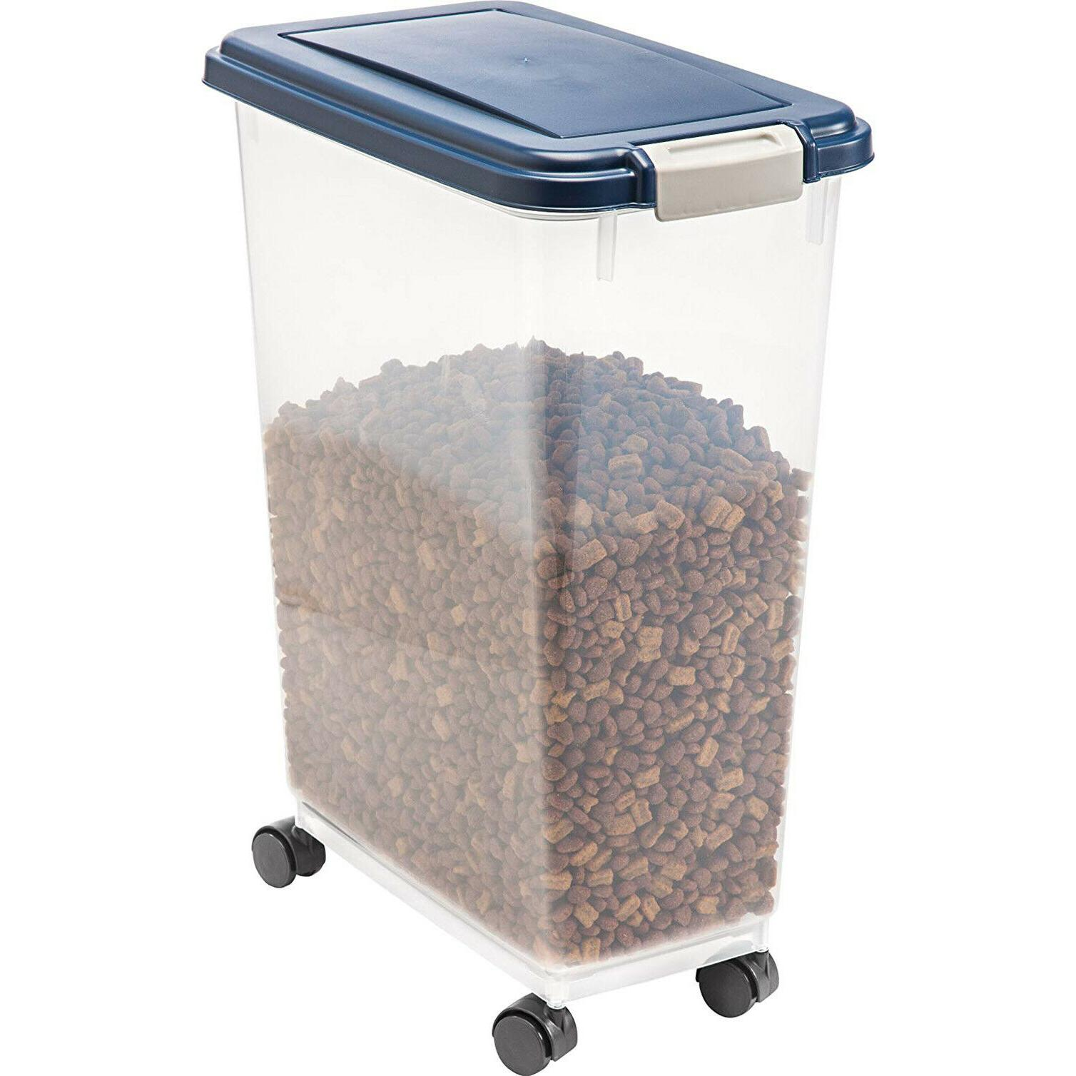 AIRTIGHT PET FOOD CONTAINER Iris Dog Cat Rolling Bin Plastic POUNDS