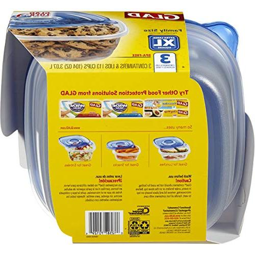 Glad Food - Family Sized Container - 104 Ounces 3 Containers