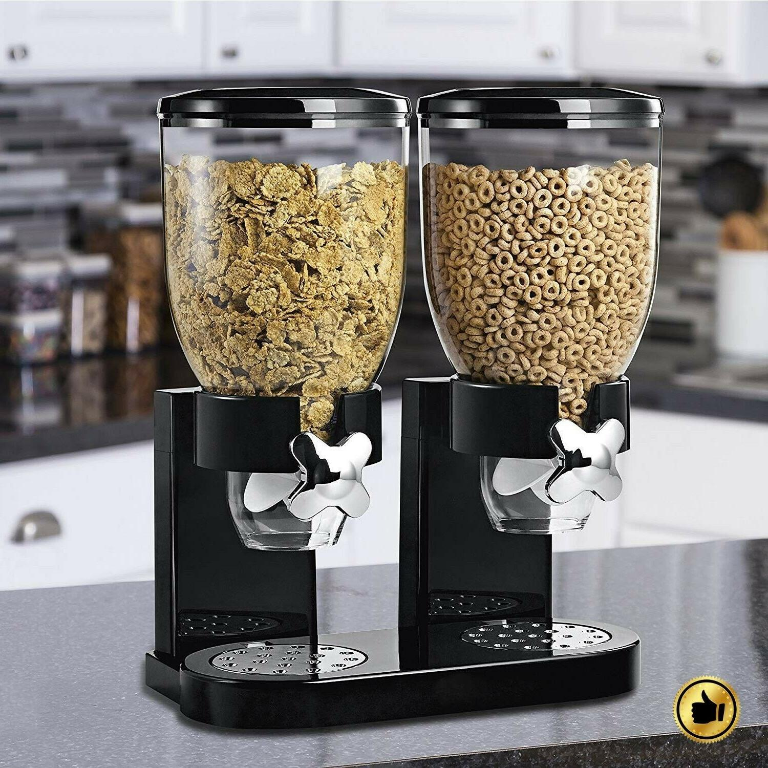 Double Cereal Dispenser Dry Food Storage Container Commercia