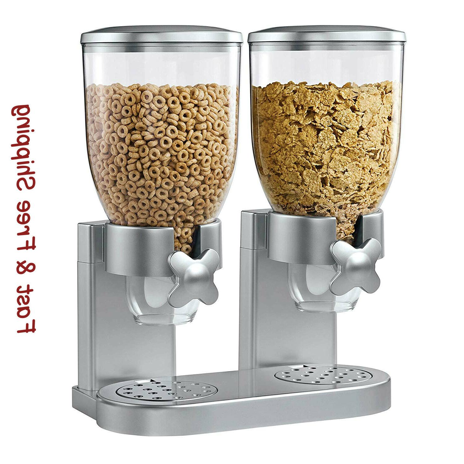 dry food dispenser compact double cereal storage