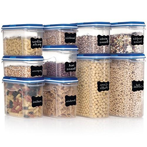 Shazo 20-Piece Set Dry Food Dual Utility Interchangeable Lid, FREE Labels One Lid Freezer Safe,