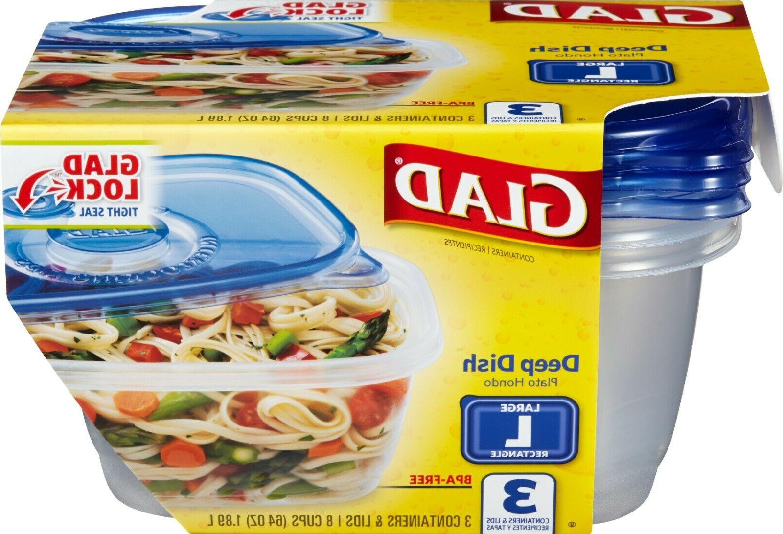 Glad Food Storage Containers - Deep Dish Container - 64 Ounc