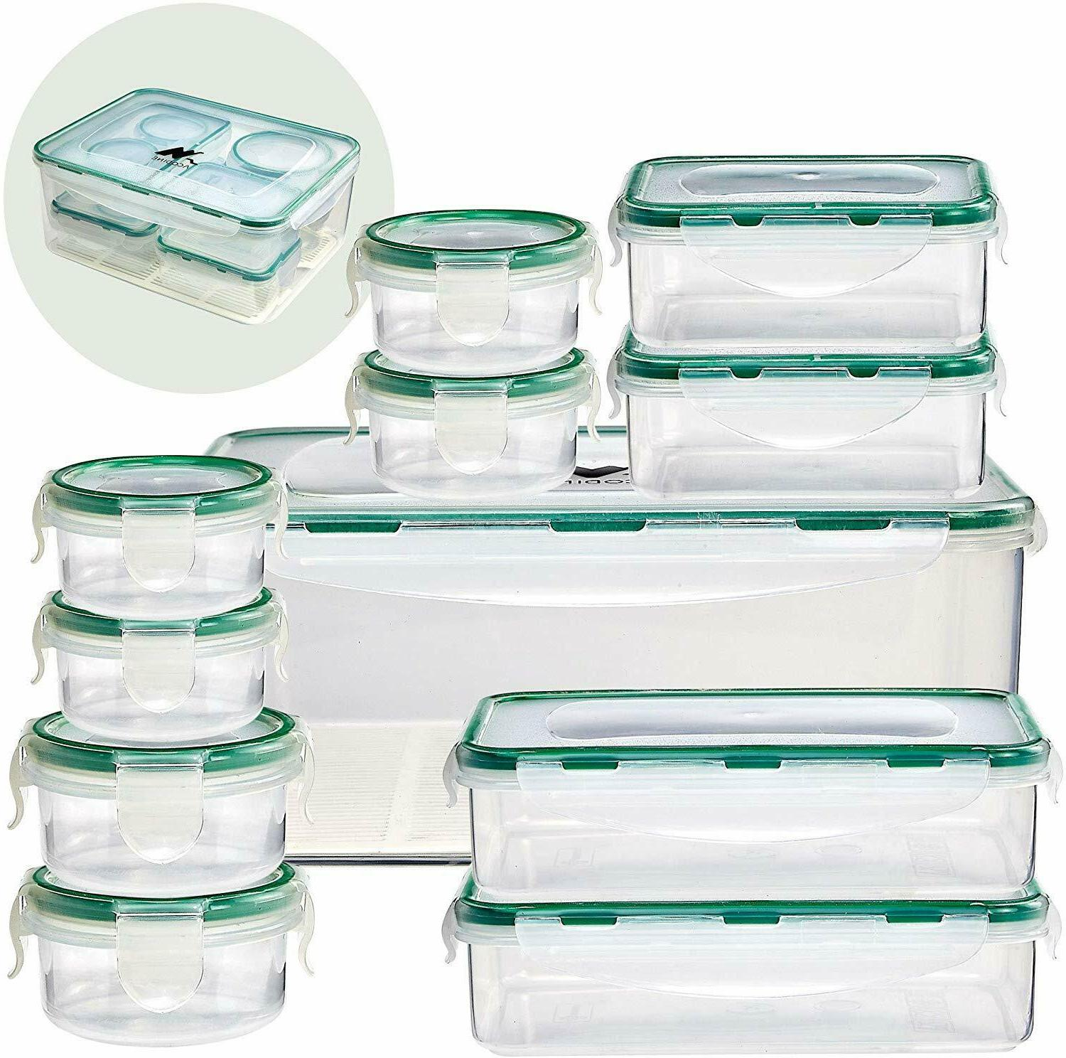 Food Storage Containers set of 11, Clear Airtight Snap Mat