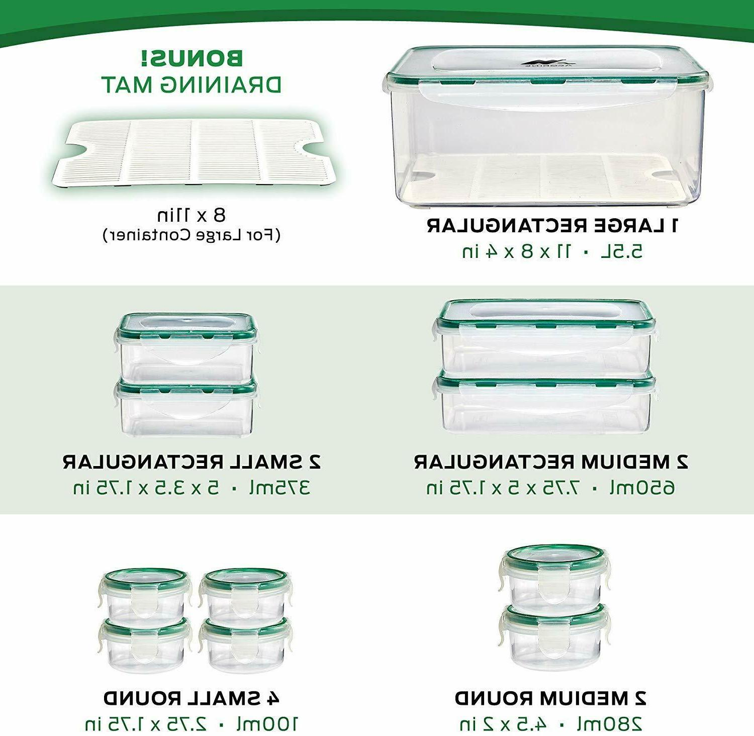 Food Storage set of 11, Clear Airtight Snap Lids, Mat