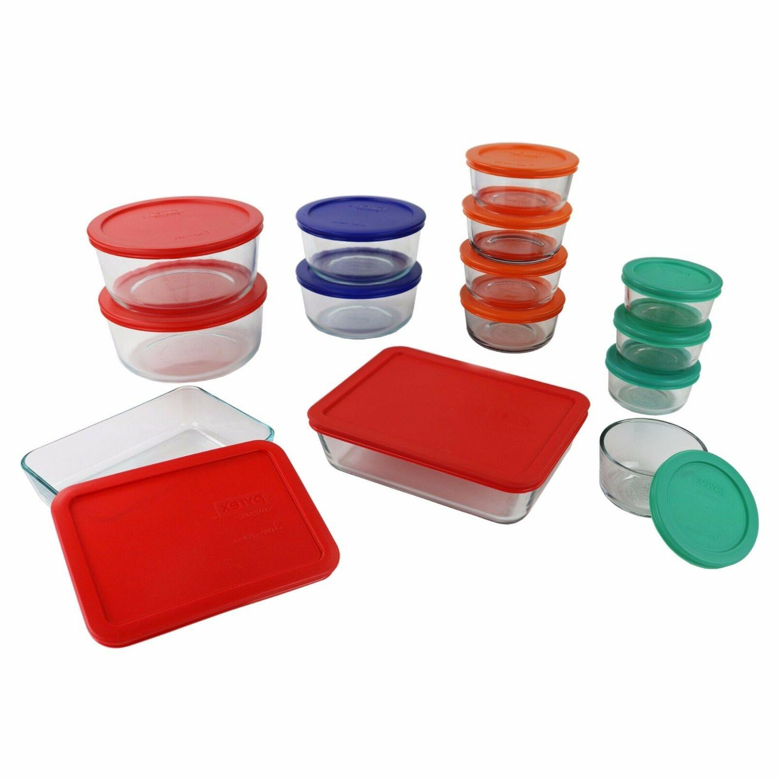 Pyrex Food Storage Rectangle Round CONTAINER Red Green Orang