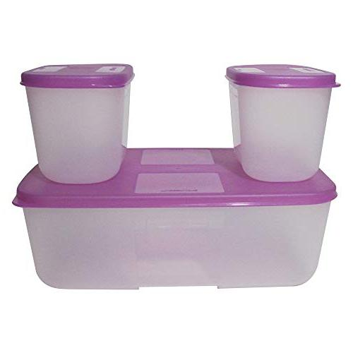 Tupperware Freezer Mate Container, 1.5 Clear Purple Color, Air Seal, for Outdoor