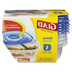 Gladware Entre Container With Lid, 25 Oz., Plastic, Clear, 5