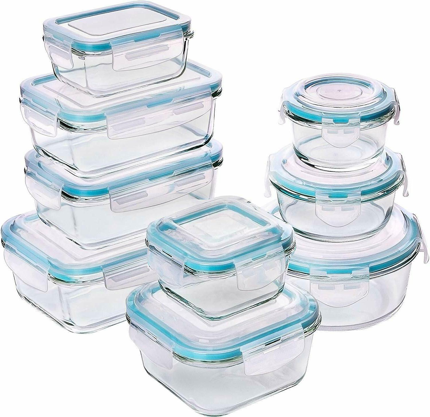 glass food storage container set 18 pieces