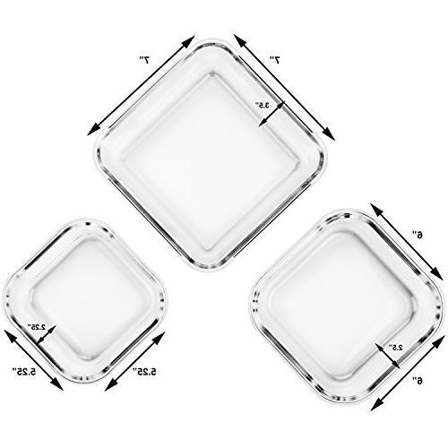 Extra Large Storage Airtight Lid 6 Pc & Dishwasher Safe. BPA/PVC Free X-Large/Large/Medium Size Square set