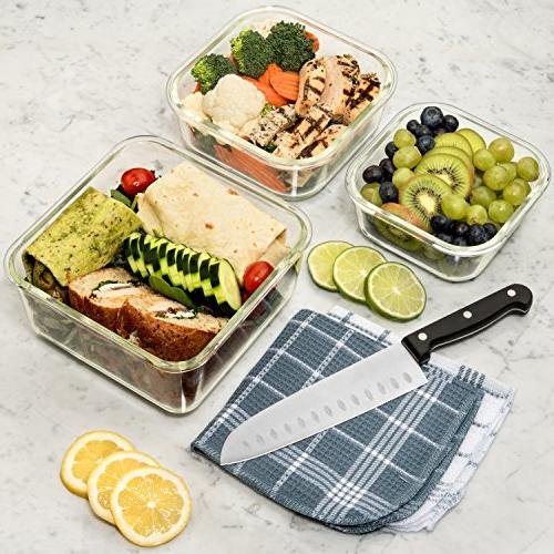 Extra Large Storage Containers with Lid 6 & Safe. BPA/PVC Free Square