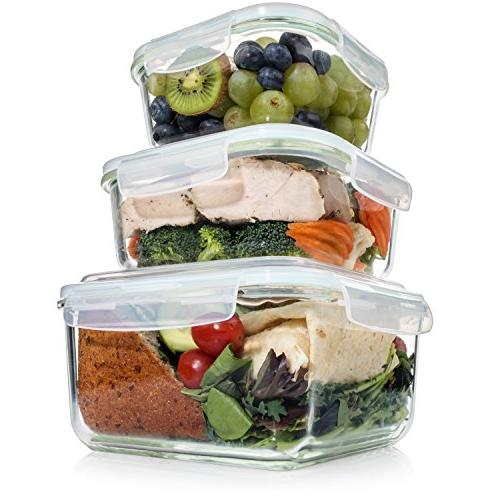 Extra Large Food Storage Containers with Lid 6 Microwave/Oven/Freezer & Safe. Free Size Square