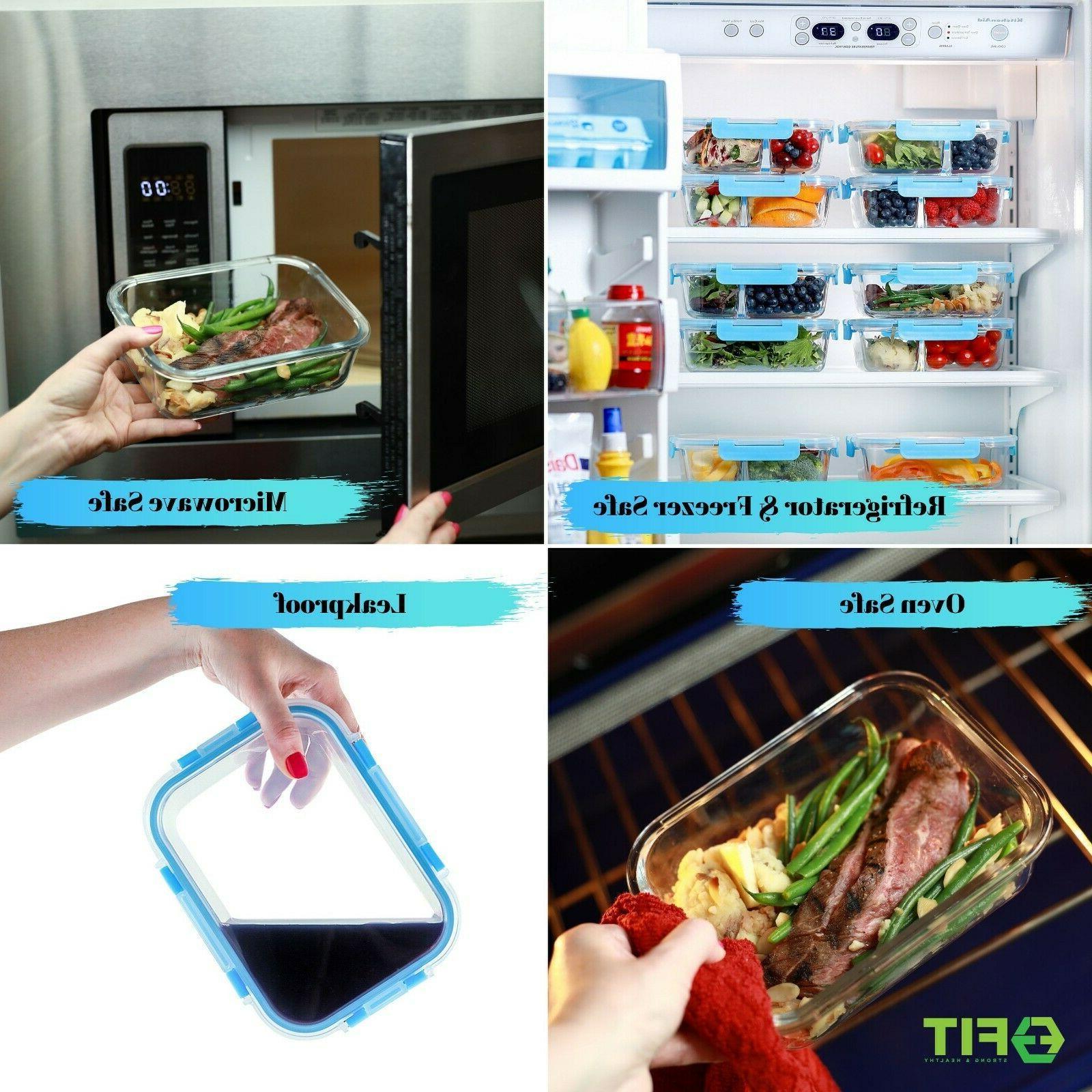 1 & 2 Compartment Glass Prep Food Storage