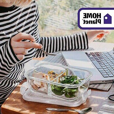 Glass Meal 3 Compartment Set | Lunchbox |