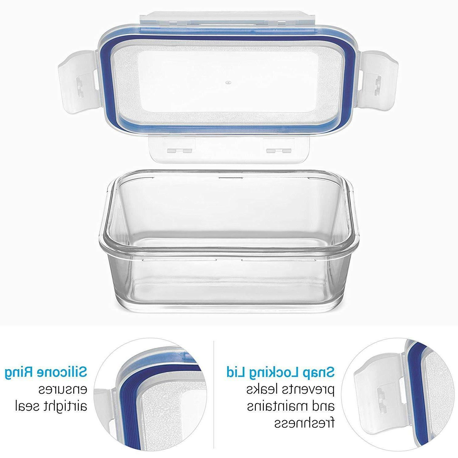 Glass Meal Storage Containers Oven Safe Portion Control