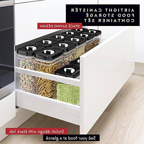 DWËLLZA KITCHEN Storage – Piece Same Size - Large Air Tight Plastic Pantry Container for BPA-Free - Keeps Fresh & Dry