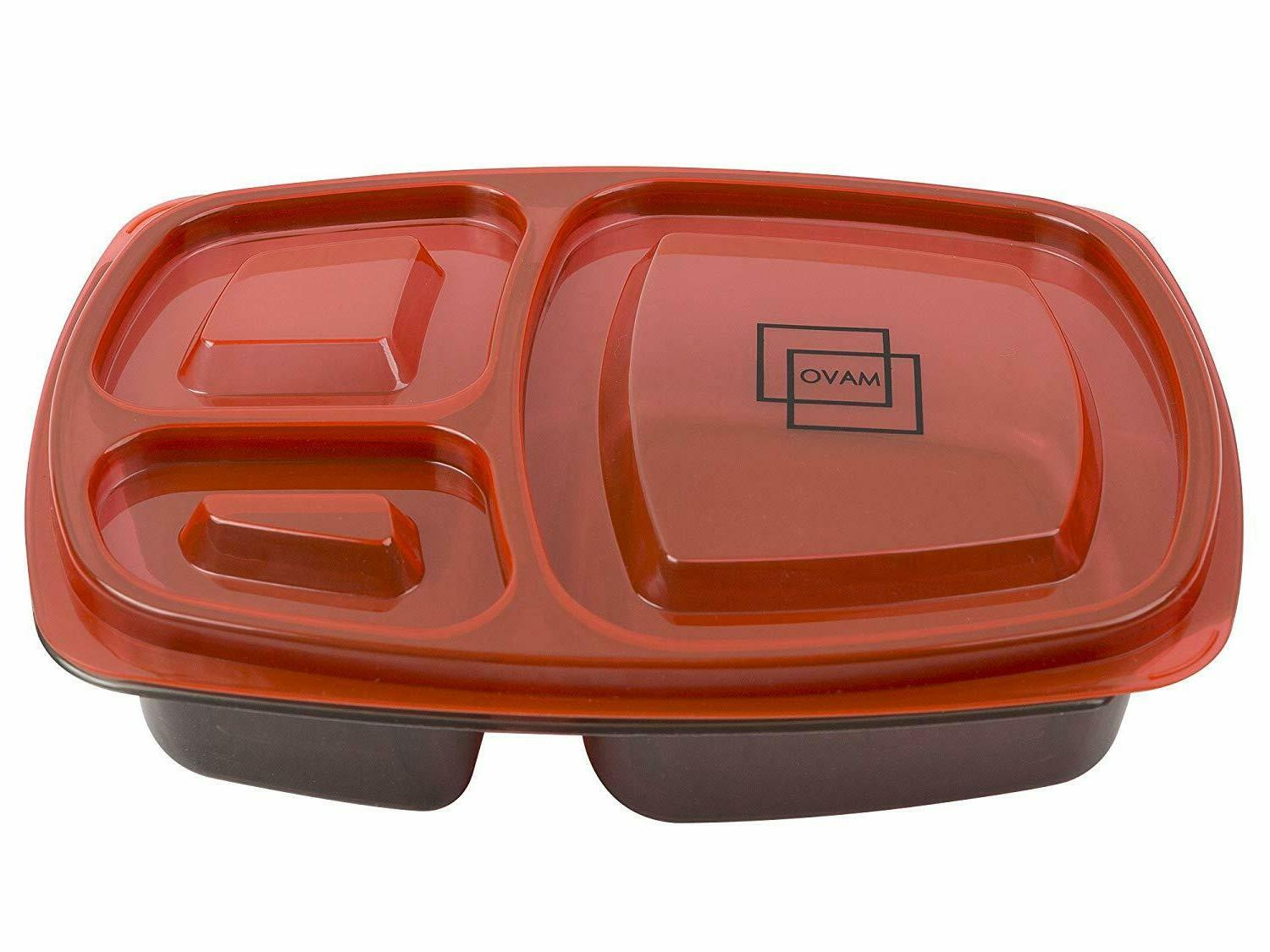 7 Meal Containers Food Storage Compartment Plastic Reusable