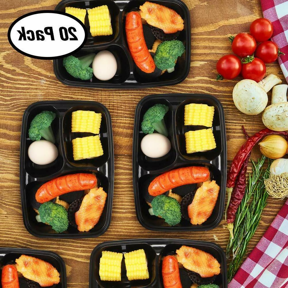 Meal Prep Containers Storage Bento Lunch Plastic Lids