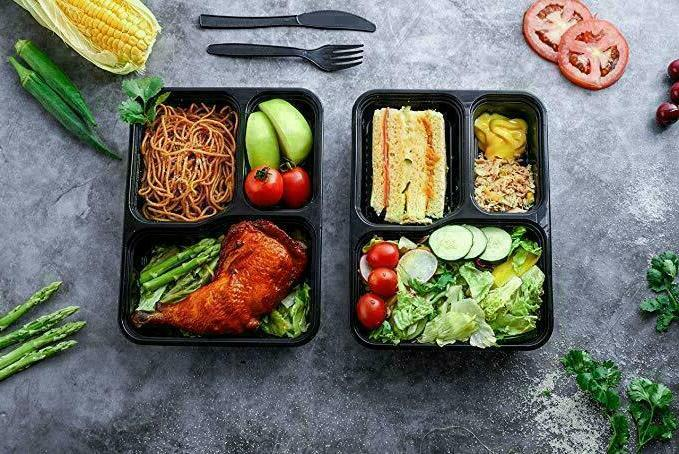 MEAL PREP CONTAINERS Safe 3 Compartment Reusable Food Storage 20PACK