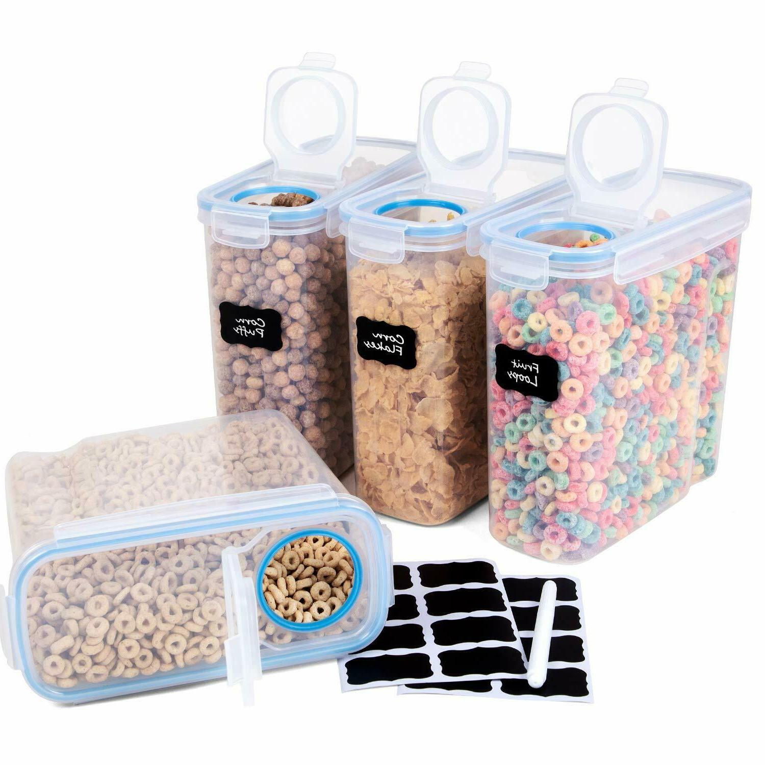 set of 4 cereal container airtight bpa