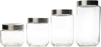 set of 4 variety size glass canister