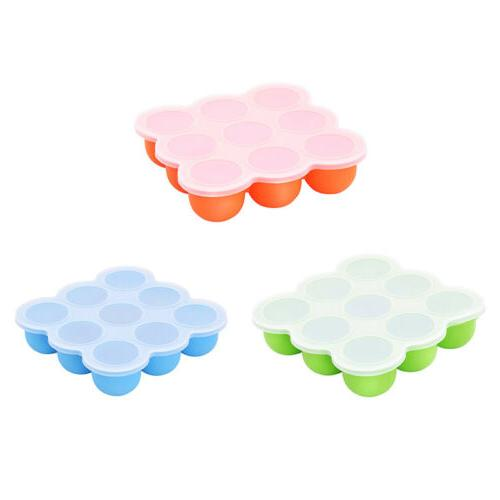 Silicone Weaning Baby Food Freezer Tray 9 Pots Storage Conta