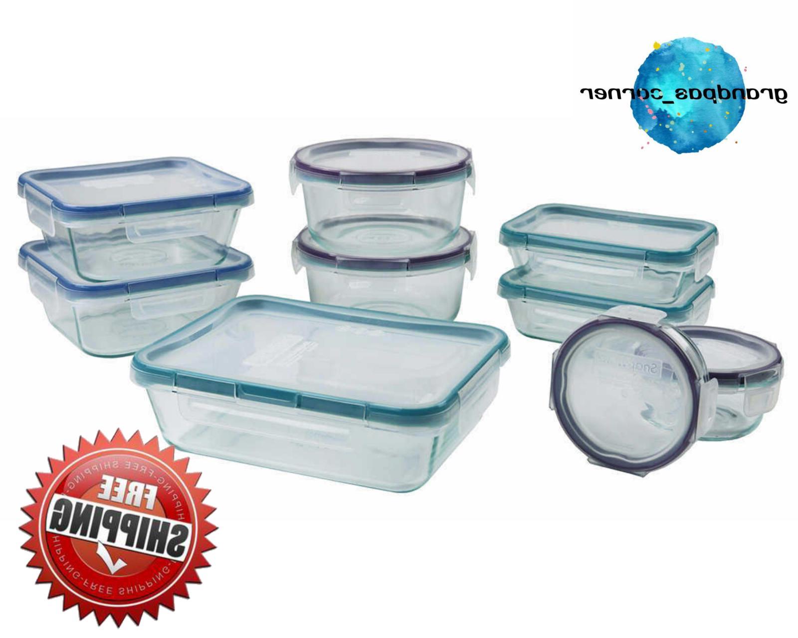 snapware 18 piece glass food storage set