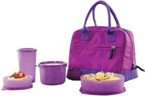 TUPPERWARE NEW CLASSIC LUNCH BOX WITH 3 BOWLS + 1 BAG