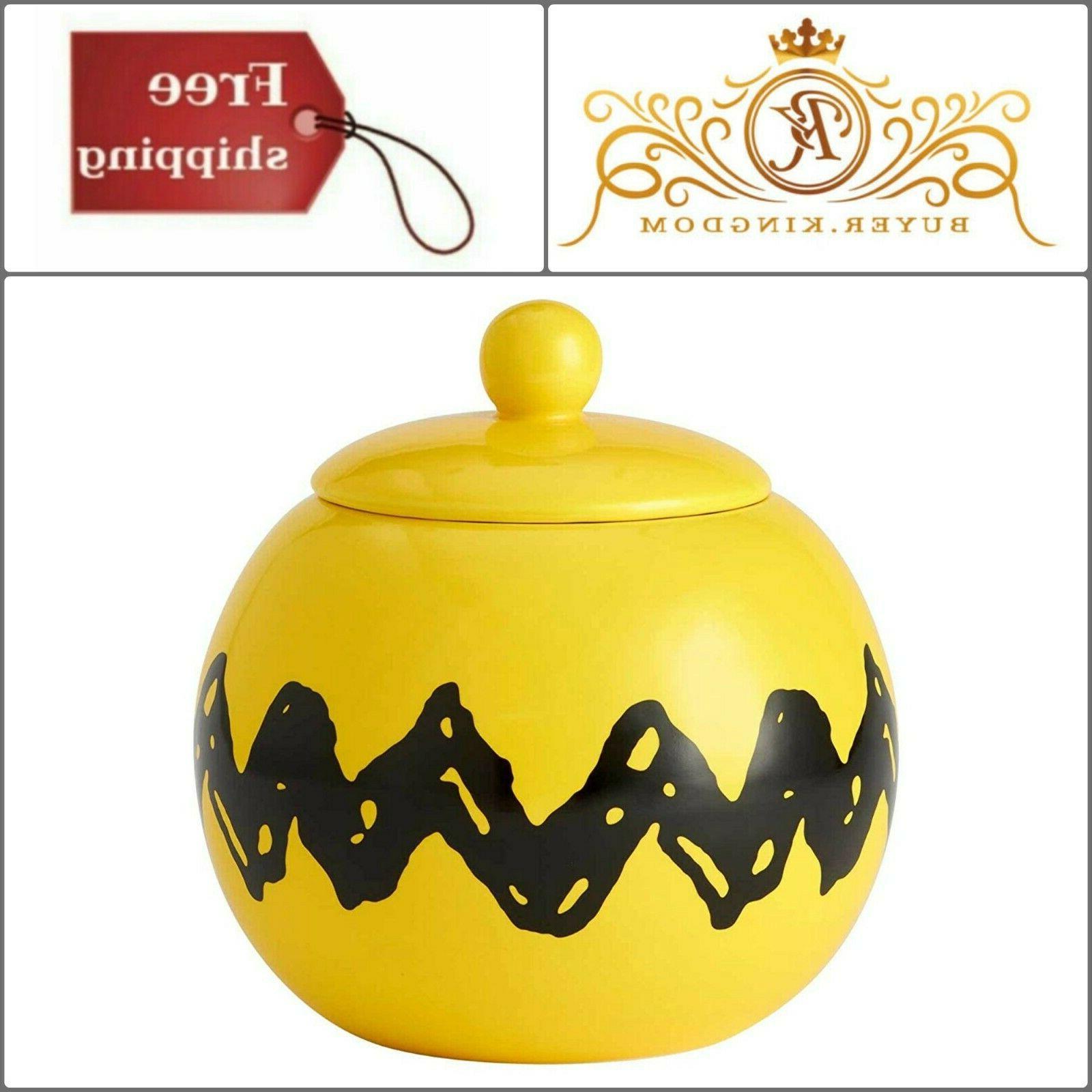 Zigzag Ceramic Cookie Holder Storage Jar Yellow Black Dry Fo