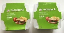 """Lot -Snapware Sandwich Food 2 Compartment Snap n' Snack-6""""X6"""