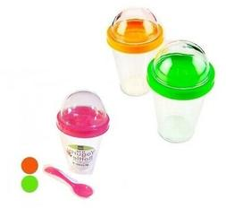LOT of 1x  2x 4x Yogurt Cereal Cup Lid Food Container Storag