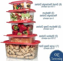 Lux Decor Plastic Food Storage Container 30 Piece Set For Mi