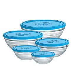 Duralex Lys Round Glass Bowl 10 oz. - 2.5 qt. With Lid, Set