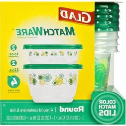 GLAD MATCHWARE FOOD STORAGE CONTAINERS GREEN ROUND 4 CT