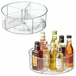 mDesign Deep Lazy Susan Turntable Storage Food Bin Container