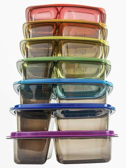 7 Meal Prep Containers Food Storage 3 Compartment Plastic Re