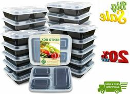 Meal Prep Container 20 Pack 3 Compartments with Lids Food St