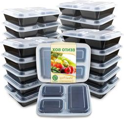 Meal Prep Container Compartments with Lids Food Storage Bent