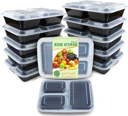 meal prep containers 12 pack 3 compartment