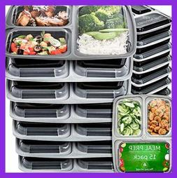 Meal Prep Containers 3 Compartment 15 Pack 32 OZ BPA Free Be