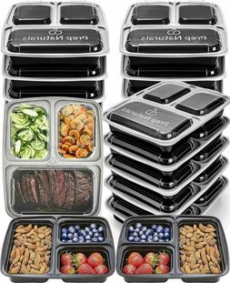 Prep Naturals Meal Prep Containers 3 Compartment  - Bento Bo