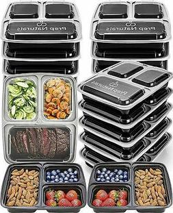 Prep Naturals Meal Prep Containers 3 Compartment 15 pack 32o