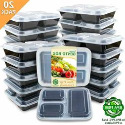 Enther Meal Prep Containers 3 compartment 20 Pack Divided Fo