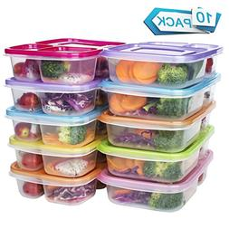 Meal Prep Containers 3 Compartment Food Storage Reusable Pla