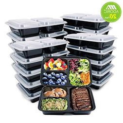 Adoric  Meal Prep Containers 3 Compartment, FDA Approved Foo