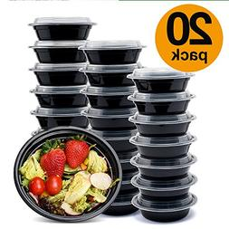 Glotoch Meal Prep Containers, 20 Pack Wholesale 1 Compartmen