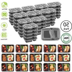 MEAL PREP CONTAINERS Microwave Safe 2 Compartment Reusable F
