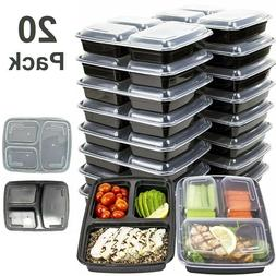 MEAL PREP CONTAINERS Microwave Safe 3 Compartment Reusable F
