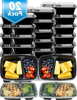 20 Pack Meal Prep Containers 2 Compartment,Microwave,Dishwas
