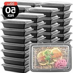 50-Pack Meal Prep Plastic Microwavable Food Containers meal